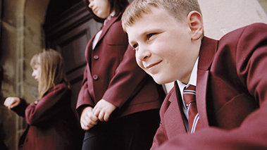 children in school uniform
