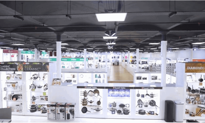 Ultimate Products showroom with different brands and products displayed on shelves